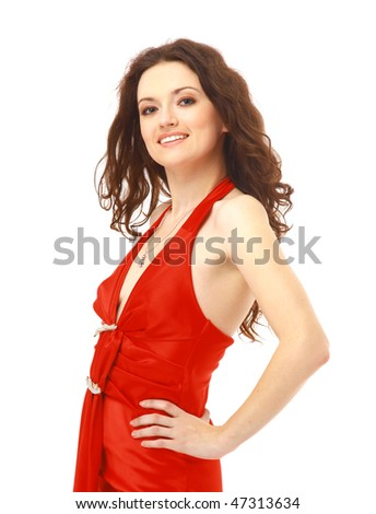 sexy woman in red dress on white