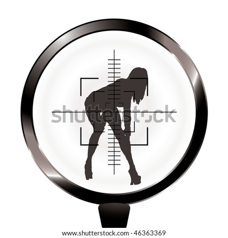 Sexy woman in rifle target and sight in silhouette - stock photo