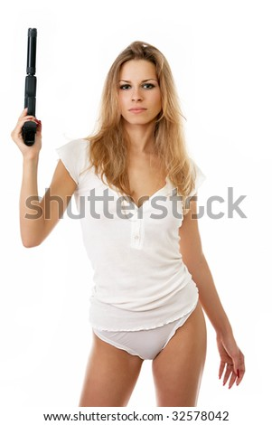 sexy woman in underwear  a gun isolated on white - stock photo