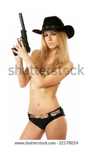 sexy woman in underwear and a cowboy hat with a gun isolated on white - stock photo