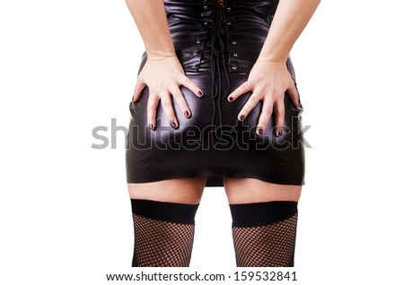 Sexy woman isolated on white background, back view. - stock photo