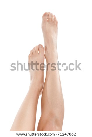 Sexy woman legs isolated on white - stock photo