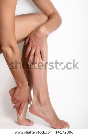 sexy woman legs, isolated on white background - stock photo