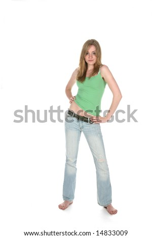 sexy woman on a high key background - stock photo