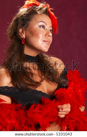 Sexy woman on a red background