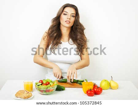 sexy woman on kitchen - stock photo