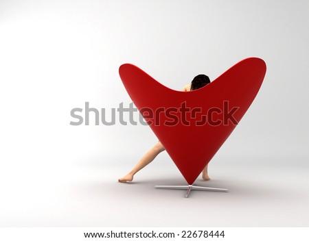 "Sexy woman on ""love armchair"" - stock photo"