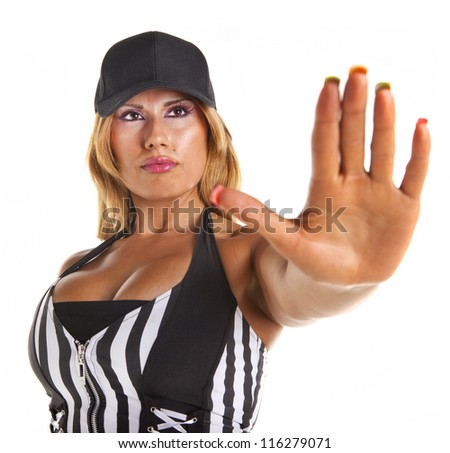 Sexy woman referee  signalling stop isolated on white. - stock photo