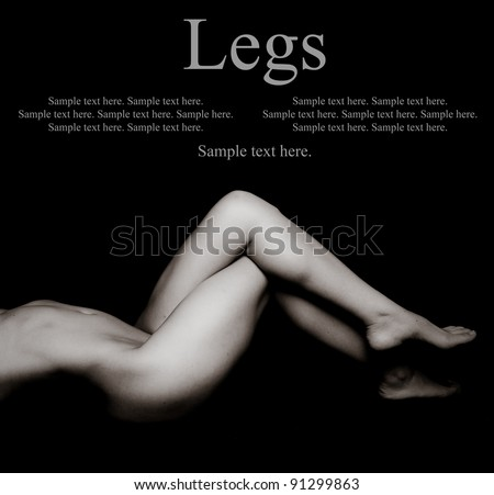 Sexy Woman's Legs with Text Space above - stock photo
