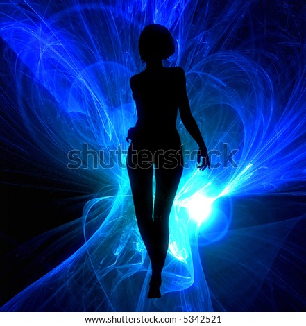 Sexy woman silhouette on glowing blue abstract - stock photo