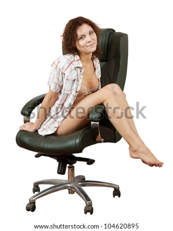 Sexy woman sitting on  office armchair, isolated over white background - stock photo