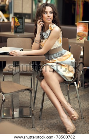 Sexy woman waiting  for someone - stock photo