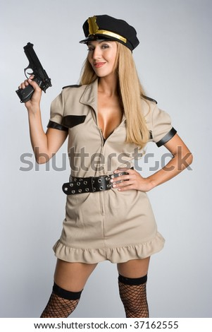 Sexy Woman Wearing Cop Costume
