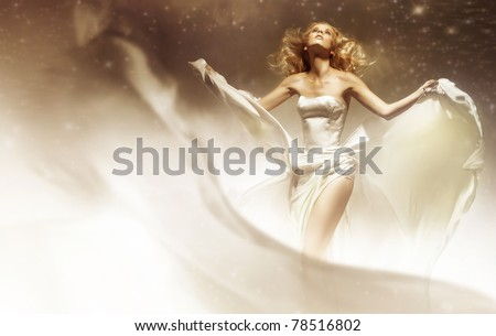 Sexy woman wearing wedding dress - stock photo