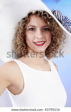 Sexy woman wearing white  hat - stock photo