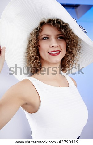 Sexy woman wearing white  hat - stock photo
