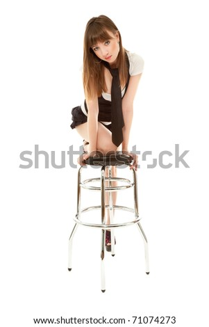 Sexy woman with barchair isolated on white