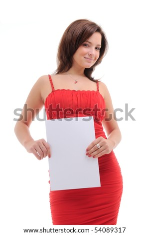 Sexy woman with blank doc. isolated over white. - stock photo