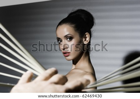 sexy woman with bright make-up. Retro style - stock photo