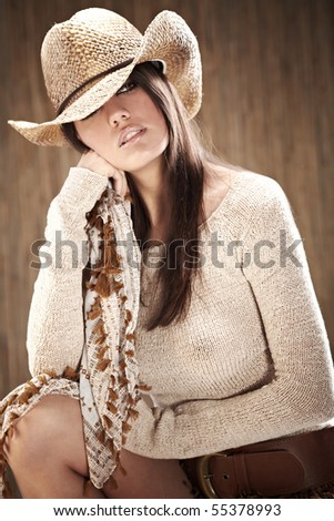 sexy woman with cowboy hat - stock photo