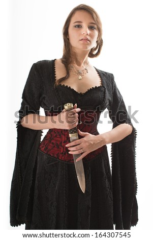 Sexy Woman with Dagger - stock photo
