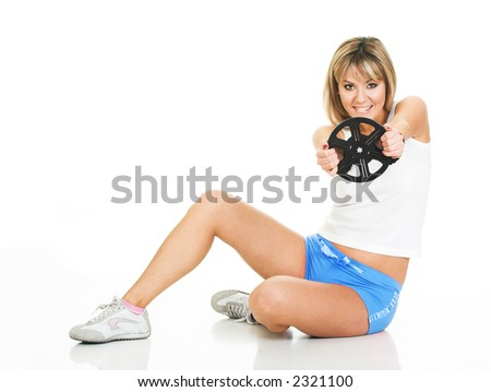 Sexy woman with film reel in drive pose. Beautiful girl on white with movie - stock photo