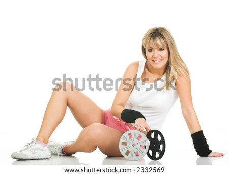Sexy woman with film reels. Beautiful girl on white with movies - stock photo