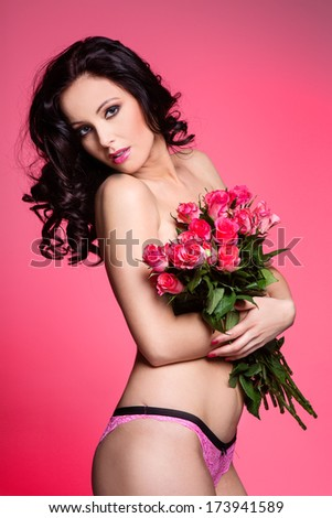 Sexy woman with flowers