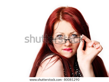 Sexy woman with glasses isolated on white - stock photo