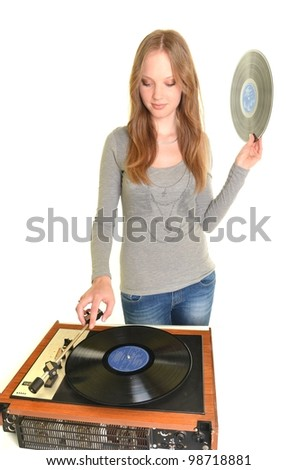 sexy woman with old record - stock photo