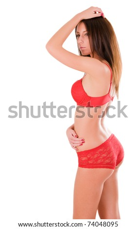 Sexy woman with perfect body (isolated on white background) - stock photo