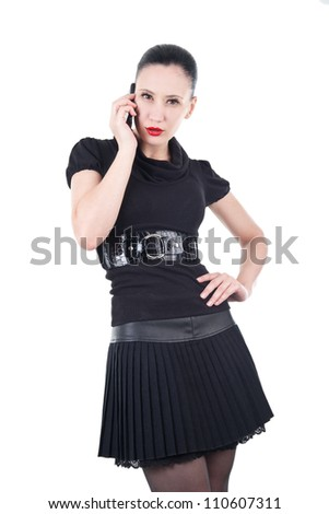 Sexy woman with phone - stock photo