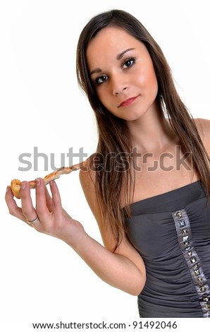 sexy woman with pizza - stock photo