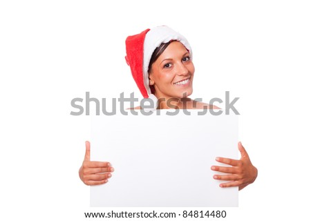 Sexy Woman with Santa Hat Holding Blank Board