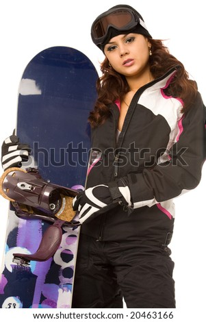 sexy woman with snowboard on a white background
