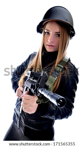Sexy woman woman with a gun