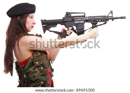 Sexy women - Girl holding an Assault Rifle, islated on white background - stock photo