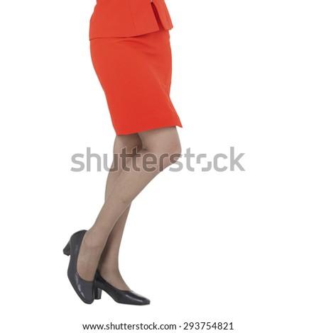 Sexy women leg, red skirt - stock photo