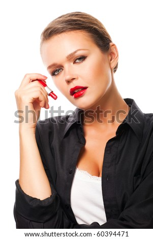 sexy young adult holding red lipstick isolated on white background - stock photo