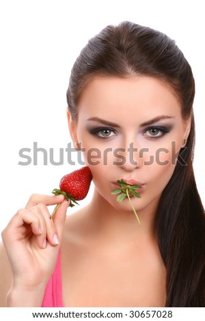 sexy young adult looking at camera isolated on white - stock photo