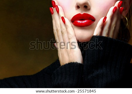 Sexy young beautiful pretty woman / model / girl / student / businesswoman / secretary with red glossy shiny lips, vintage / retro is touching her face / seductive - closeup - stock photo