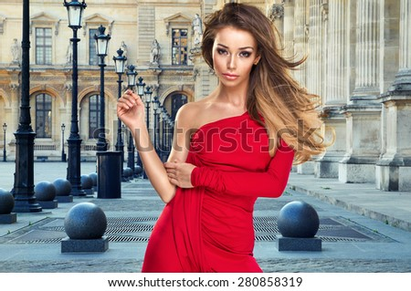 Sexy young beauty woman in red dress  - stock photo