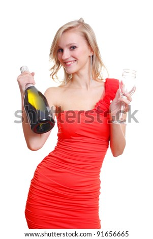 Sexy young blond and wine - stock photo