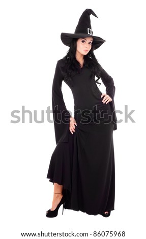sexy young brunette witch, isolated against white background - stock photo