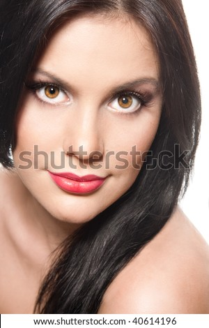 Sexy young brunette with red lips - stock photo