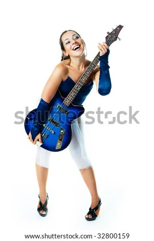 sexy young brunette woman with a guitar against white background - stock photo
