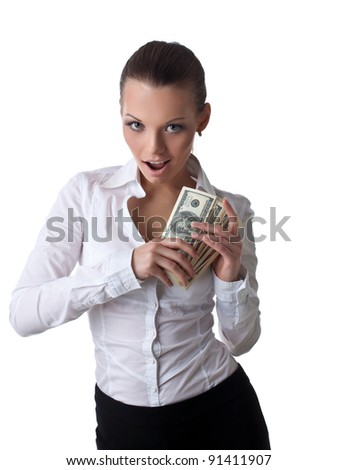 Sexy young business woman take lots of money - stock photo
