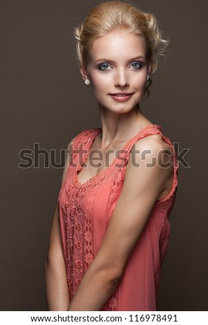 Sexy young caucasian woman with curly blond hair - stock photo