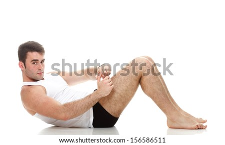 Sexy Young fashion sport man, fitness muscle model guy making push ups exercise white background - stock photo