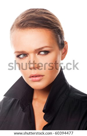 sexy young female in black shirt isolated on white background - stock photo